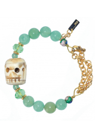 LITTLE SKULL -AGATE TEINTE ROUGE