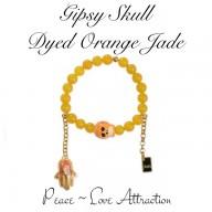 GIPSY SKULL - DYED ORANGE JADE