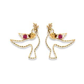 Tiny Paloma Earrings - Raw Ruby