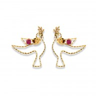 Tiny Paloma Earrings - Raw Ruby