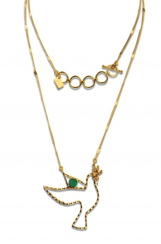 Short necklace - PALOMA 40 - Green onyx