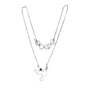Short necklace - TINY PALOMA 40 -lapis lazuli /silver plated