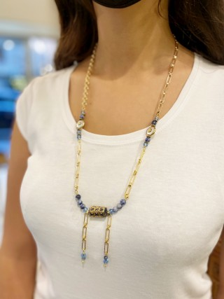 Long necklace TRESOR - BLUE SODALITE