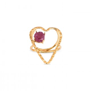 RING CRUSH - Pink raw RUBY