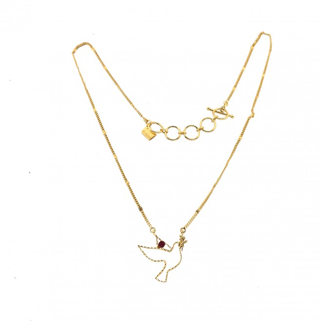 Short necklace - TINY PALOMA 40 -rough ruby