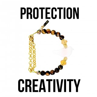 BRACELET SIMPLE WHITE BIRD-TIGER EYE