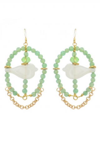 Earrings White birds - AVENTURINE