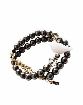 Double Tour White Bird - Hematite