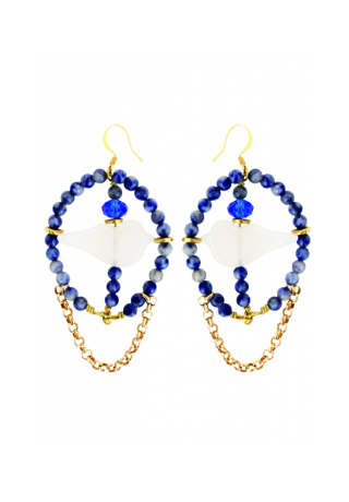 Earrings White birds - sodalite