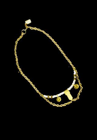 White DAISY  Short necklace