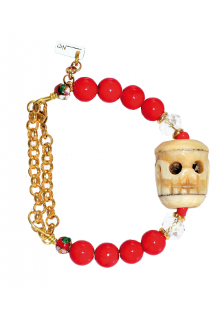 LITTLE SKULL - RED DIED AGATE