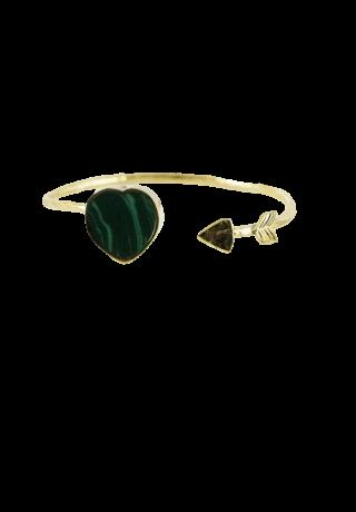 """Bracelet Jonc """"En plein Coeur"""" malachite"""