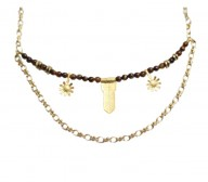 Daisy short necklace -Tiger Eye