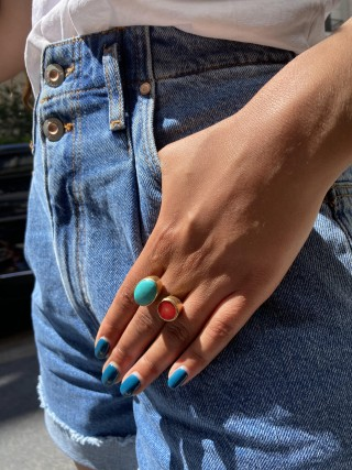 BAGUE - DUO CORAIL TURQUOISE