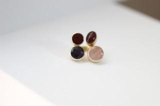 BAGUE QUATTRO Amethyst- Pink quartz - Garnet