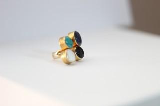 BAGUE QUATTRO - Nacre- Lapis lazuli - Turquoise - Améthyste