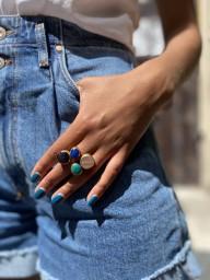 BAGUE  QUATTRO -Pink Quartz- Blue Agate  - Turquoise - Amethyst